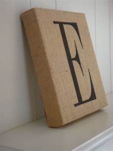 wrap a canvas in burlap stencil letter w fabric paint or With kitchen cabinets lowes with burlap canvas wall art