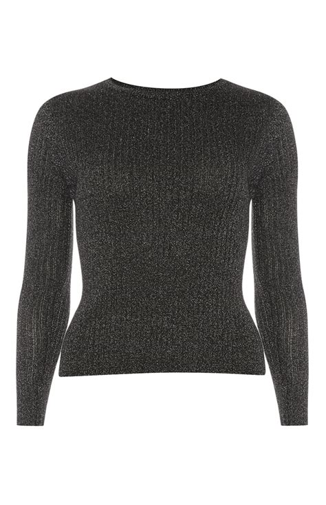 Black Glitter Ribbed Long Sleeve Top For Primark Ladies