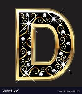 D gold letter with swirly ornaments Royalty Free Vector