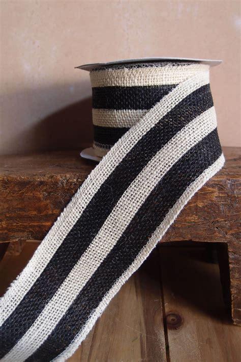 black white striped burlap ribbon  width   yds