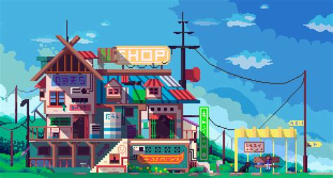sideshop  faxdoc pixel bitmap building store shop