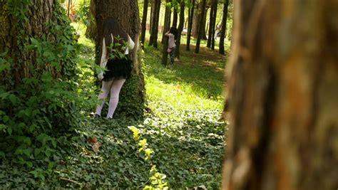 boy playing hide  seek game recreation