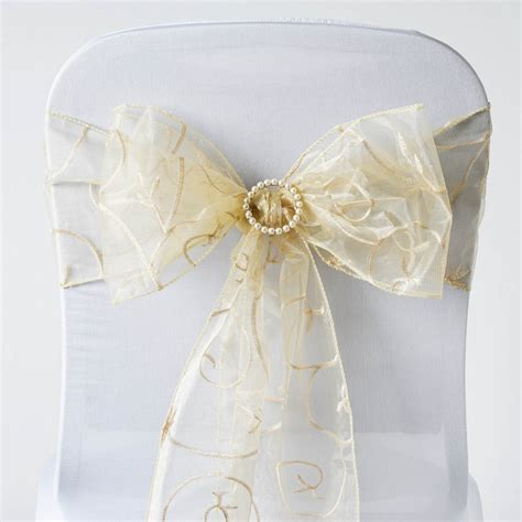 100 embroidered sheer organza chair sashes bows ties wedding decorations
