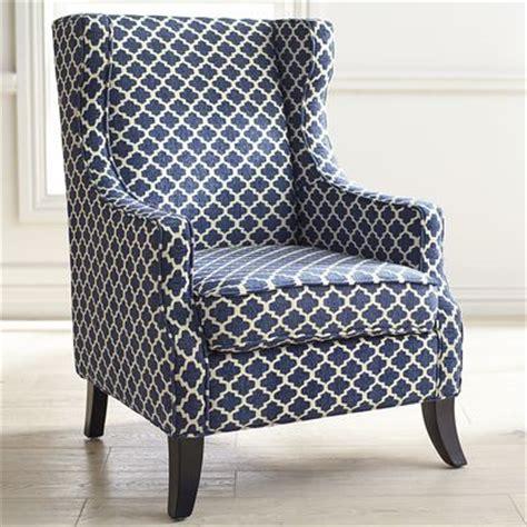 alec wing chair navy trellis