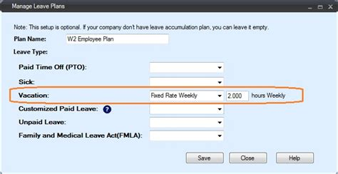 set  employee leave plan  fixed rate