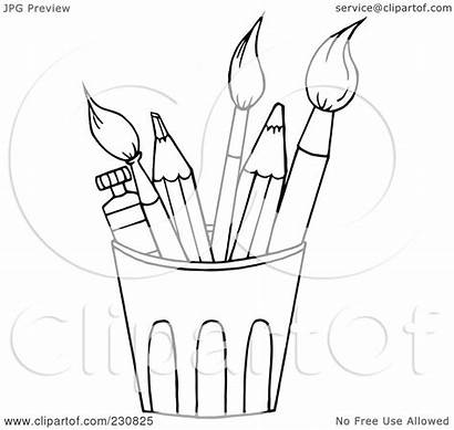 Outline Coloring Cup Paintbrushes Clipart Pencils Illustration