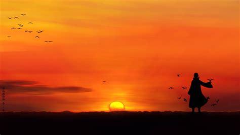 Anime Sunset Wallpaper Hd - anime uchiha itachi sunset silhouette birds wallpapers