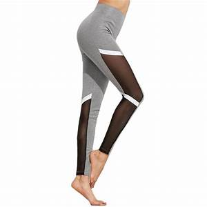 Gray and White Black Mesh Panel Womenu0026#39;s Leggings Printed Yoga Pants Workout Activewear