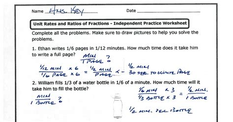 unit rates  ratios  fractions independent practice