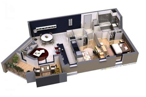 Idee Cuisine Petit Espace - plan maison 3d d 39 appartement 2 pièces en 60 exemples