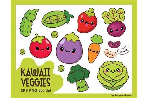 kawaii veggies illustrations creative market