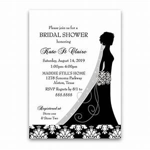 damask wedding bridal shower invitations black white floral With black and white silhouette wedding invitations