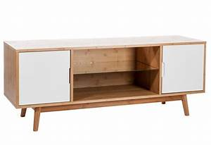 Meuble Cuisine Bois Naturel : meuble tv bois naturel blanc 130x38x50cm jolipa j line by ~ Teatrodelosmanantiales.com Idées de Décoration