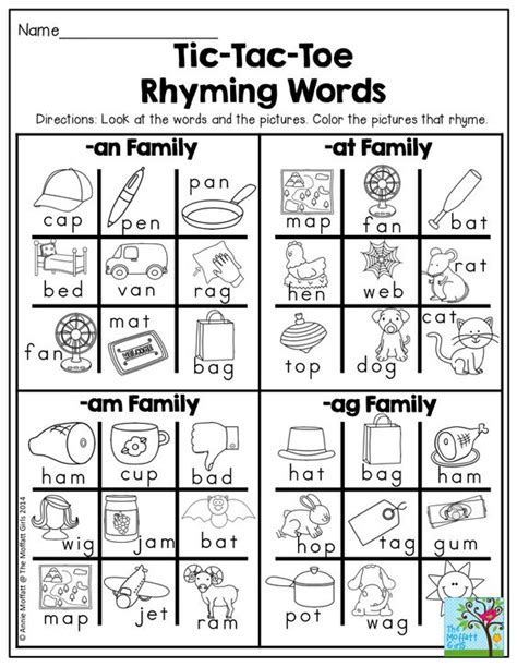 what rhymes with colors tic tac toe rhyming words find the words that rhyme and