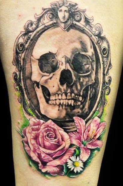 skull  flower tattoo tatoo ideas pinterest