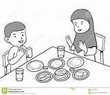 Muslim Having Meal Cartoon Praying Coloring Meals Vector sketch template