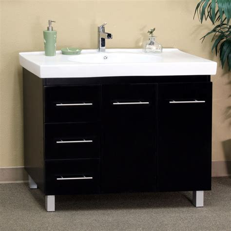 Bathroom Vanity With Drawers On Left Side by Black Wood 39 Inch Single Sink Vanity With Left Side