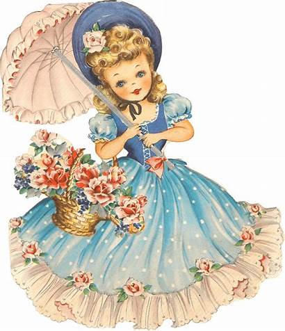 Clipart Retro Birthday Umbrella Transparent Cards Dolls