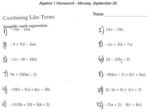 distributive property combining like terms worksheet