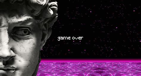 vaporwave statue water spaceship game  pixel art