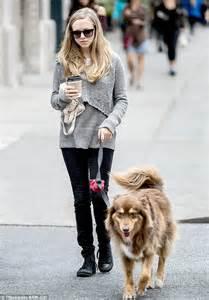 Amanda Seyfried takes her beloved dog Finn for a walk ...