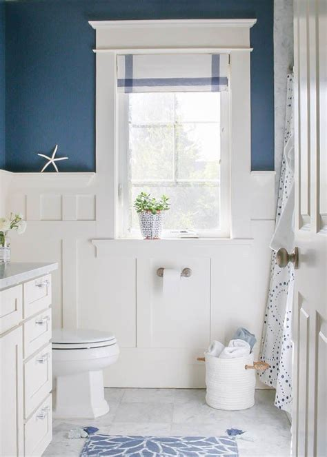 White Wainscoting Bathroom by Navy Blue And White Bathroom Home Bathroom