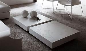 Table Tres Basse : table basse blanche pour salon en 20 exemples magnifiques ~ Teatrodelosmanantiales.com Idées de Décoration