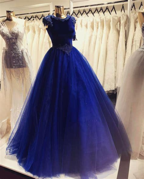 royal blue velvet tulle ball gown prom dresses   neck