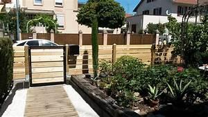 Cloture Jardin Bois : cl ture bois en m l ze jardin design ~ Premium-room.com Idées de Décoration