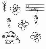 Coloring Beehive Honey Bees Flower Netart sketch template