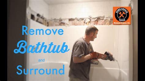remove  fiberglass bathtub  surround  home