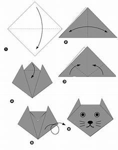 Faire Des Origami : tuto chat en papier bricolage et diy origami chat origami et pinterest origami ~ Nature-et-papiers.com Idées de Décoration