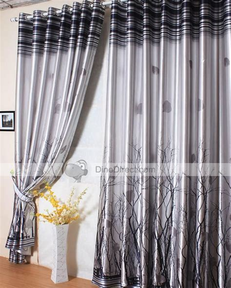 Black And Grey Curtains by Grey Curtains On Sale Grey Tree Print Tailored Drape