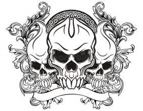 vintage skull stock vector illustration  scroll devil