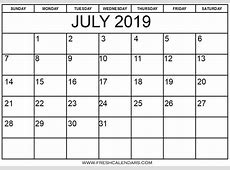 July 2019 Printable Calendars Fresh Calendars