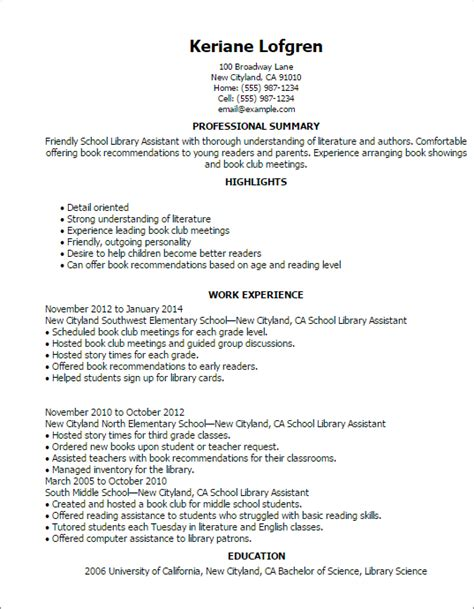 Curriculum Vitae Library Assistant by Professional School Library Assistant Templates To Showcase Your Talent Myperfectresume