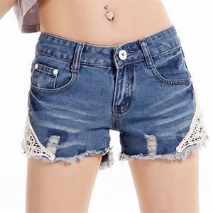 2015 NEW Brand Women Lace Flower Skinny Jean Shorts Cut Off Denim Short Trousers Girls Sexy High ...