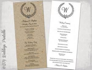 diy fan programs wedding program template rustic black quot leaf garland