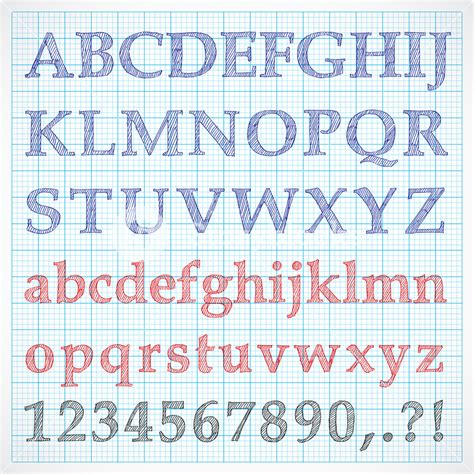 hand drawn fonts on graph paper royalty free stock image storyblocks