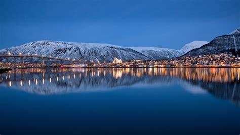 winter coast port city night illumination preview