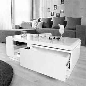 Table Blanche Design : table basse design blanche laqu achat vente table basse table basse design blanche cdiscount ~ Teatrodelosmanantiales.com Idées de Décoration