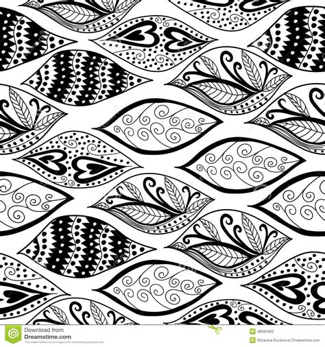 black and white ornaments seamless pattern stock