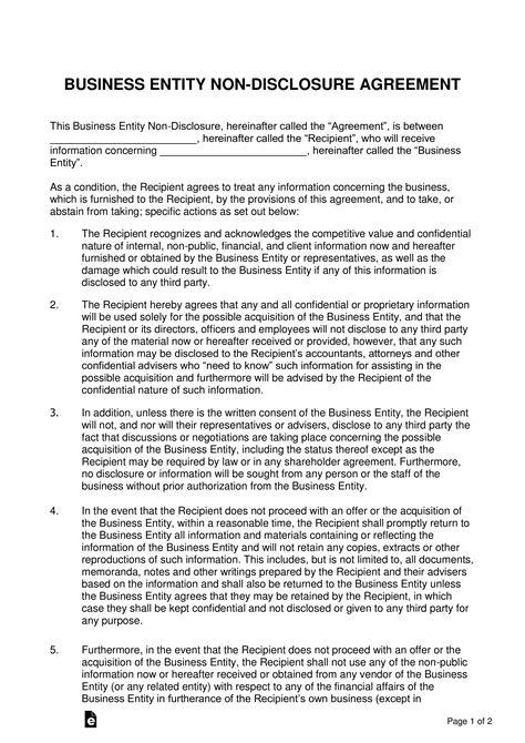 business sale  disclosure agreement nda template