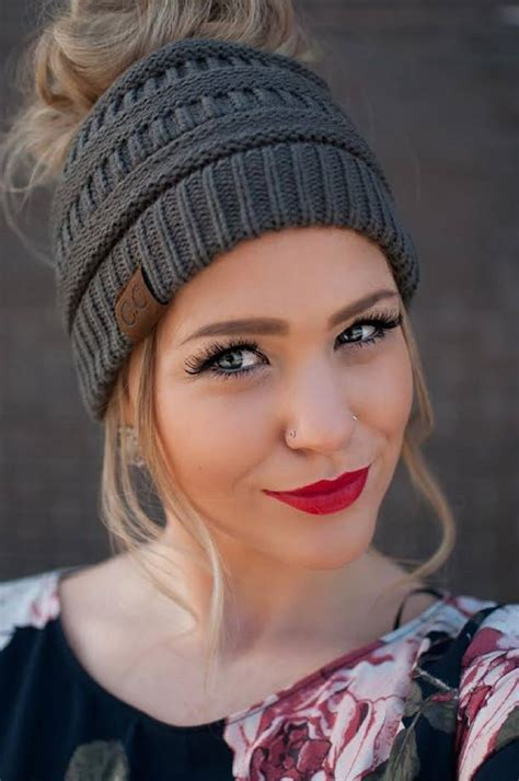 Lazy buns, in particular, have been adored by women of all ages for as far back as we can remember. I LOVE messy bun hats!   Messy bun knitted hat, Messy bun ...