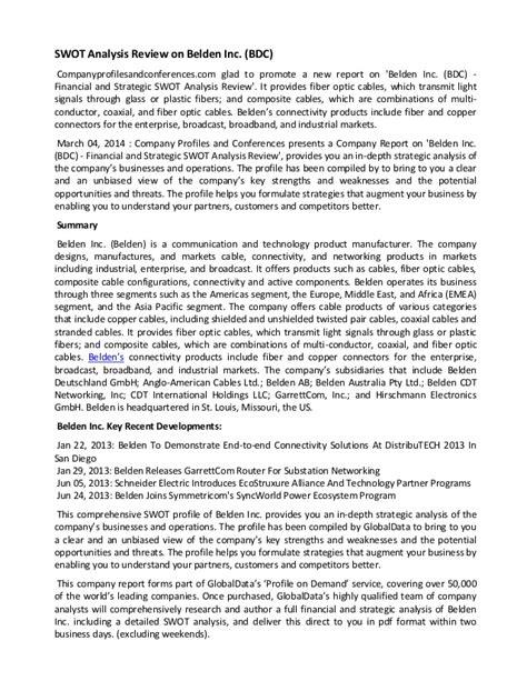 Swot Analysis Review On Belden Inc (bdc