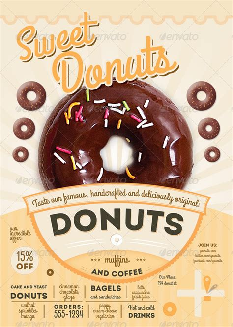sweet donuts flyer  menu template  thefaint