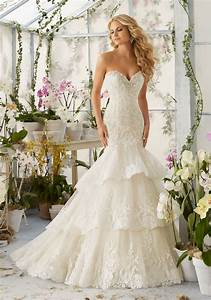 lace appliques on tiered tulle wedding dress style 2810 With tiered lace wedding dress