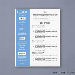 Attractive Word Resume Template With Blue Sidebar Design  Resume  Download  Template