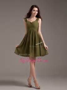 olive green bridesmaid dresses straps olive green ruched chiffon knee length bridesmaid dress