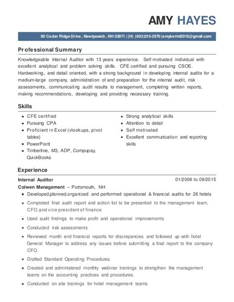 Auditor Resume Exles by Auditor Resume Jan 2016